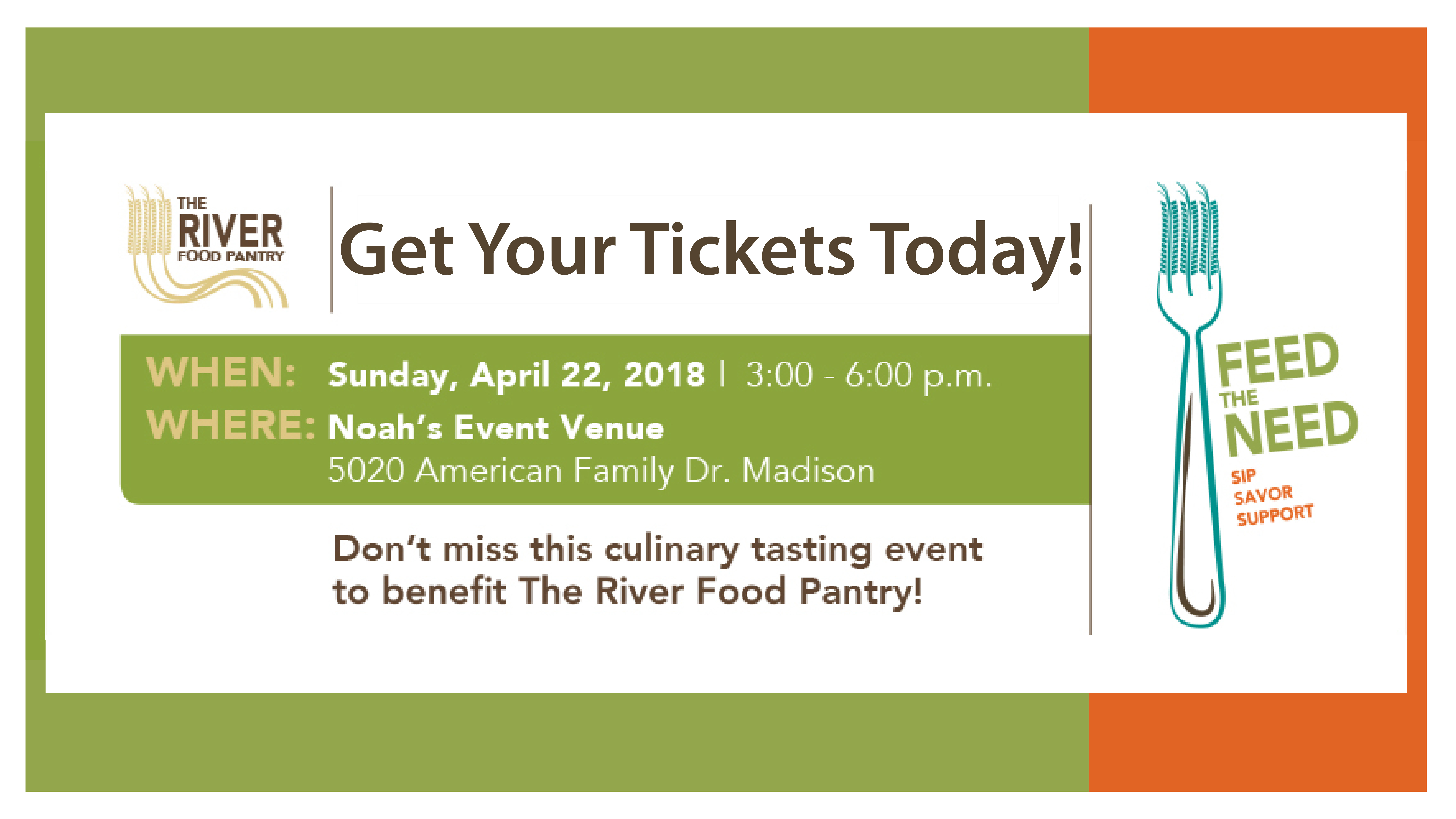 Feed the Need  Sip  Savor  Support  Tickets | Noah's Event Venue | Madison,  WI | Doors open at 3:00 p m  and the event is over at 6:00 p m | BTT